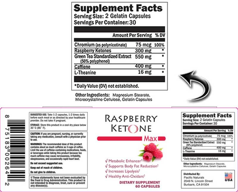 Raspberry Ketone Max readable ingredients