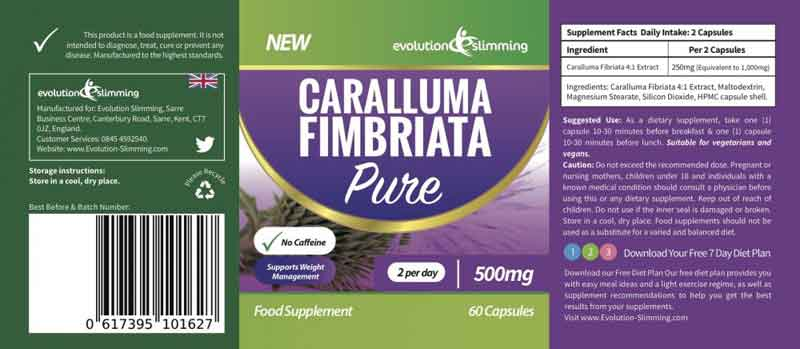 Caralluma Pure Caralluma Fimbriata Label ingredients