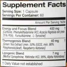 Fuze Ultra Thermogenesis supplement facts