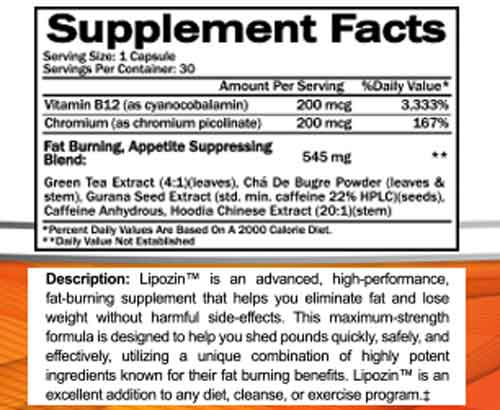 lipozin ingredients supplement facts