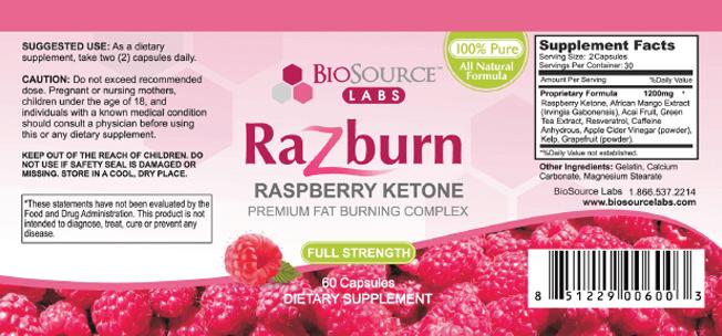 razburn supplement facts ingredients